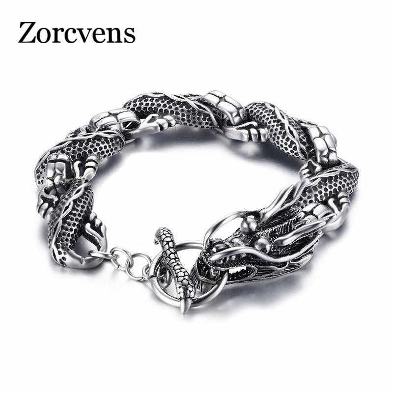 LETAPI панк бренд Винтажная с драконом браслет нержавеющая сталь цепи для мужчин ювелирные изделия