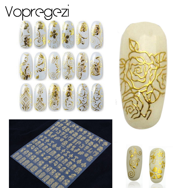 Vopregezi Flower Stickers Nail Art Water Transfer Decals Nails Tips Foil Designs 3D Manicure Sticker Nail Art Decorations 2016 cartoon design nail art manicure tips water transfer nail stickers paradise vacation desgins nails wraps collections decor