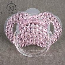 MIYOCAR Hot New pink Princess hand made bling crystal rhinestone Baby Pacifier/ Nipples /Dummy /cocka /chupeta &pacifier clips