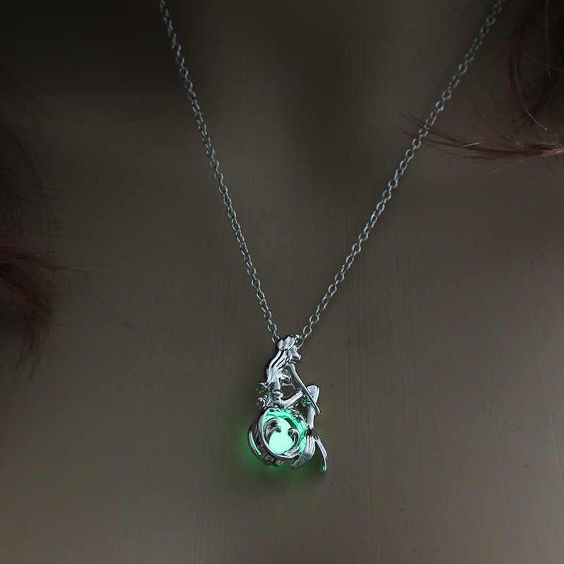 Yaz takısı karanlıkta parlayan kolye gümüş renk Mermaid kolye madalyon kolye aydınlık taş kolye Unisex için