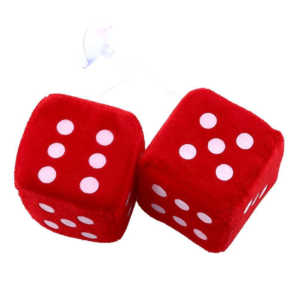 1 пара пушистых игральных костей в горошек, зеркальные вешалки заднего вида, украшение интерьера автомобиля, Стайлинг автомобиля, автомобильные аксессуары - Название цвета: red