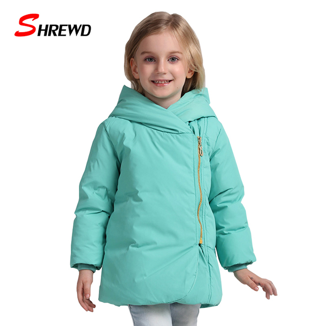 Winter Coat For Girls New 2017 Casual Pure Color Warm Winter Jacket Kids Zipper Long Sleeve Hooded Baby Girl Clothes 5542Z