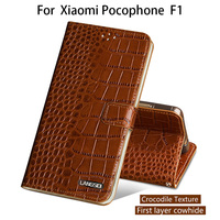 Flip Phone Case For Xiaomi Pocophone F1 Case For A1 A2 Lite Max 2 3 Mix2s Redmi Note 5 Genuine Leather Crocodile Texture Cover