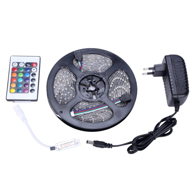 Waterproof LED Strip 3528 SMD 300leds 5M + 24Key IR Remote Controller + 12V 2A Power Adapter RGB LED Light Free Shipping