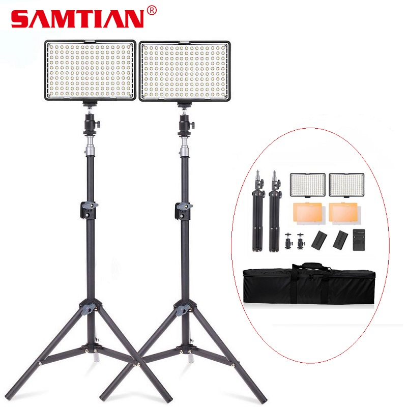 SAMTIAN TL-160S 2 Terno Luz Fotografia Luz De Vídeo LED 160 PCS Luz Do Painel de LED Com Tripé Para Câmera de Vídeo Estúdio fotográfico