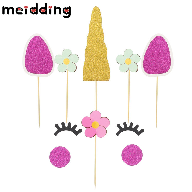 meidding 1set cartoon colorful unicorn cake topper christmas decor kids girl birthday party baby shower unicorn party supplies in cake decorating supplies
