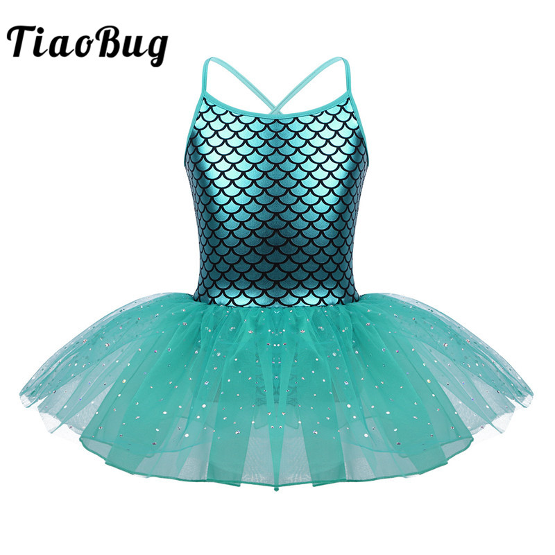 TiaoBug Kids Girls Ballet Tutu Dress Spaghetti Straps Scales Printed Gymnastics Leotard Child Stage Shiny Mermaid Dance Costume
