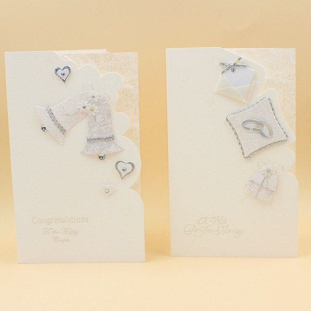 16 pieces lot leiso brand white elegant wedding greeting cards with