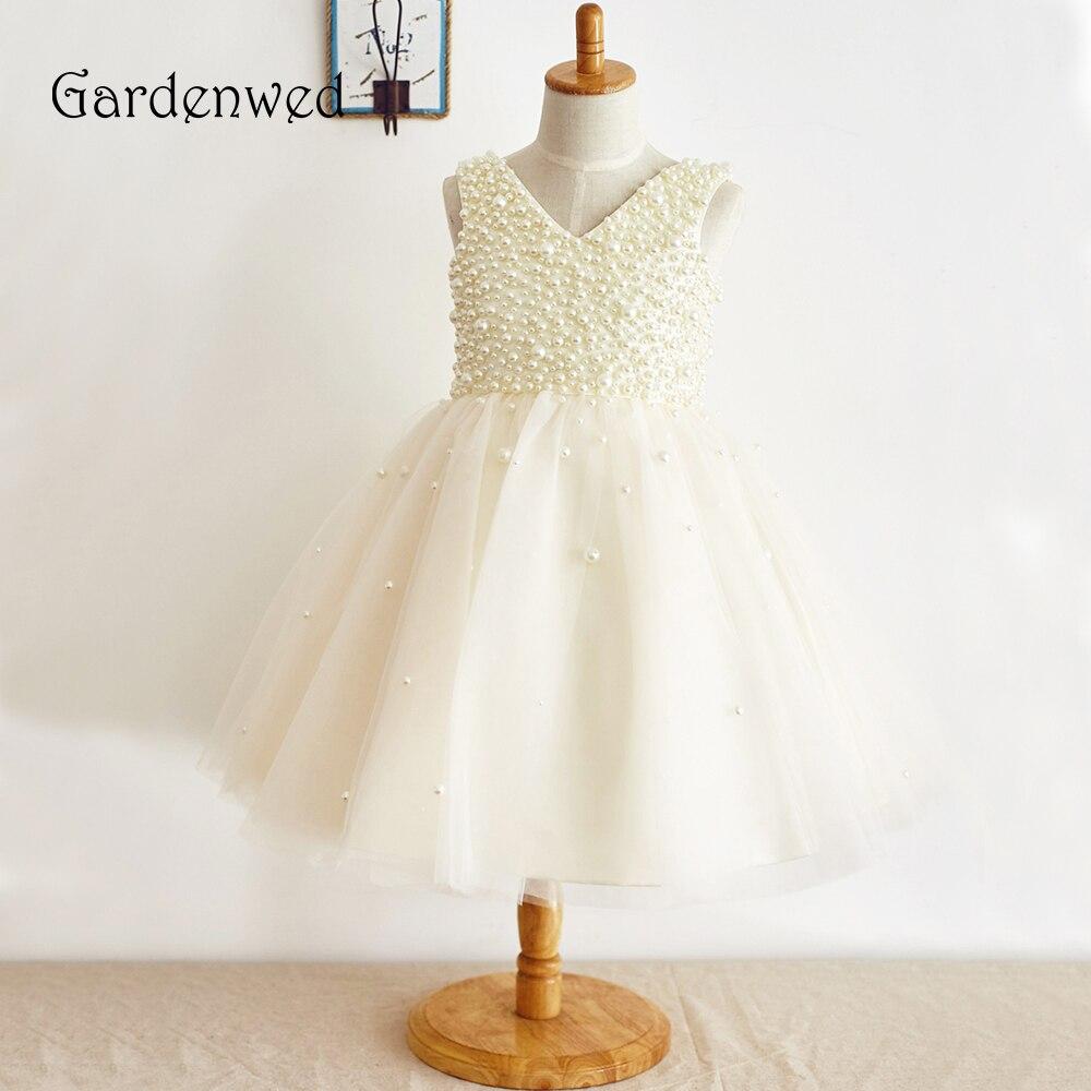 Gardénia 2019 genou longueur ivoire perles fleur fille robes avec arc petites filles enfants robe pour mariage robes de reconstitution historique formelle