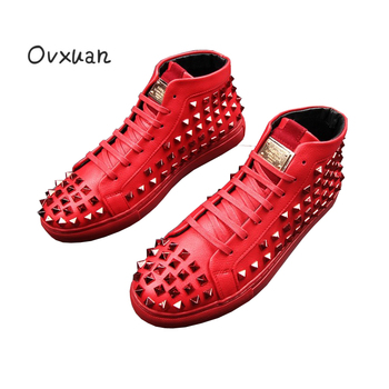 Ovxuan British Gold Rhomb Rivet Male Boots Fashion Party and Street Men Dress Shoes Metal Decoration High Top Casual Boots Men