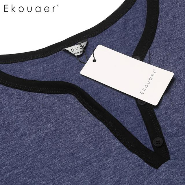 Ekouaer Men Nightshirt Casual Nightwear Comfortable Short Sleeve Night Shirts Big Tall Sleep Shirt Sleepwear Lounge Homewear