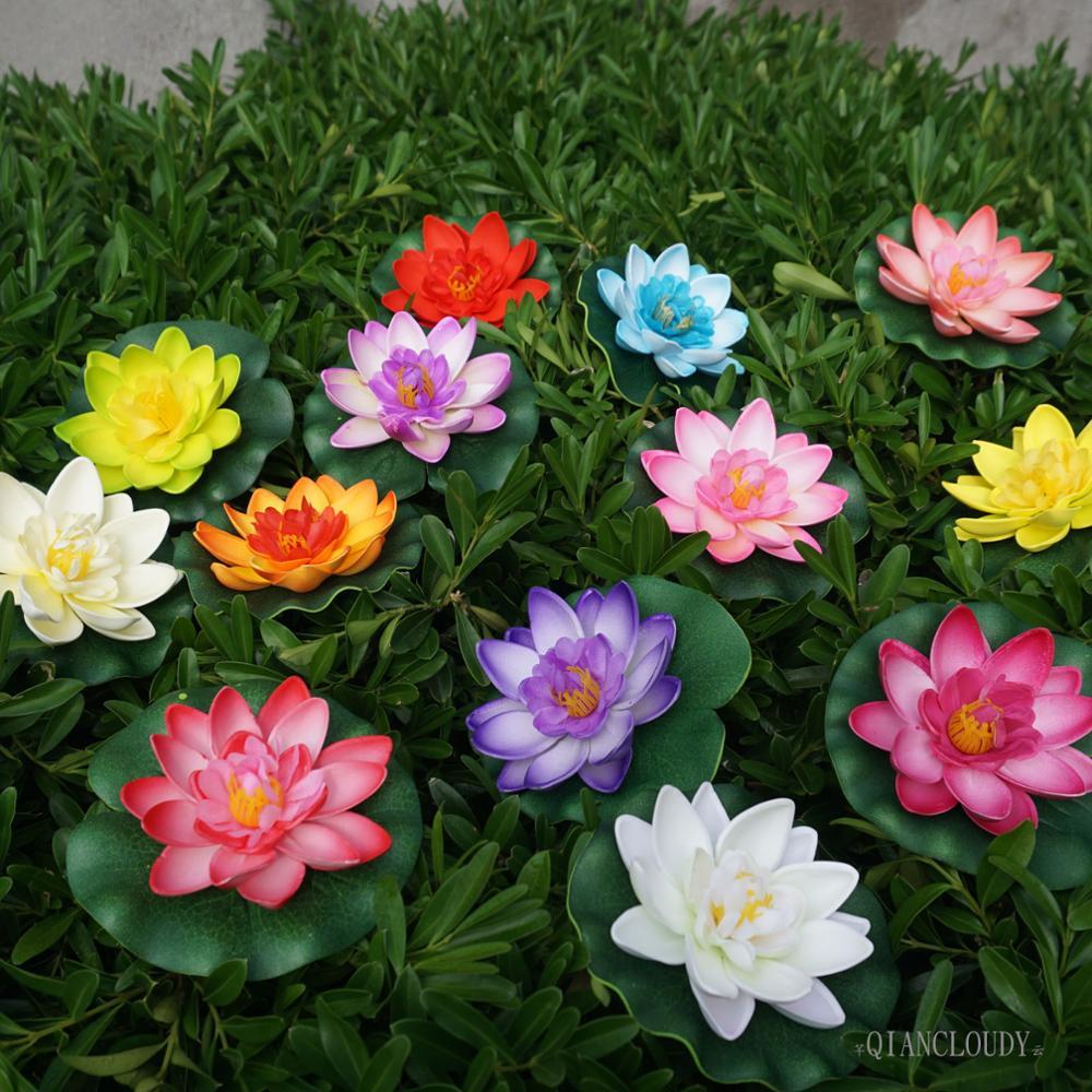 50 Pieces Lots Artificial Fake Pond Flowers Waterproof Lotus Flowers