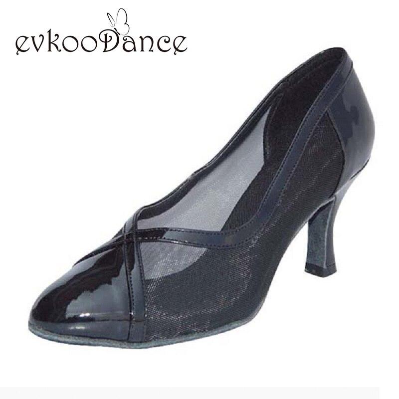 Black PU Black Satin Silver Pu Gold With Mesh Heel Height 5cm 6cm Size US 4 12 Professional Ladies Ballroom Dance Shoes NB007