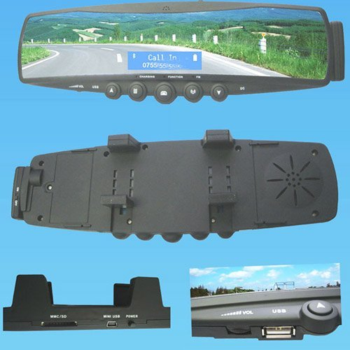 Car Bluetooth RearView Mirror kit with SD USB Port Built-in FM transmitter battery wireless earphone Gift&cheap shipping