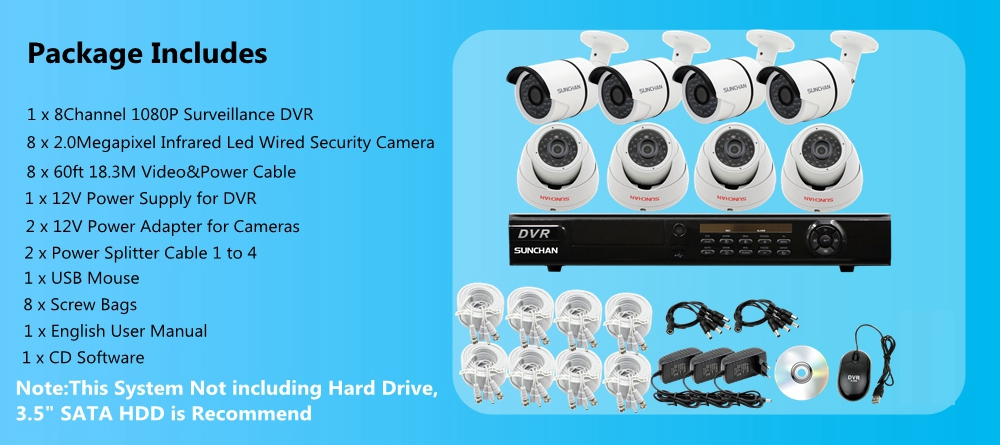 8CH AHD DVR 1080P Indoor Outdoor Security Camera System Night