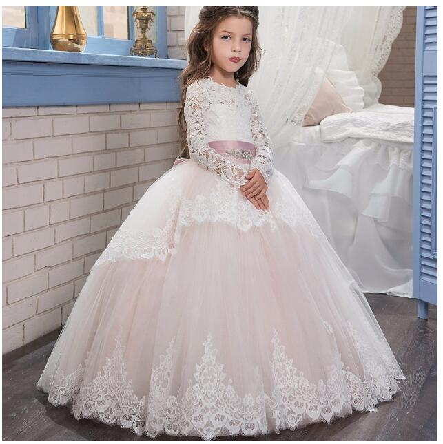 Girls Wedding Formal Dresses 2018 Autumn Catwalk Lace Gauze Prom Ball Gown Flowers Girls Princess Dresses Kids Long Party Dress girl s formal dress 2018 flower girls wedding dresses kids gauze sequins party ball gown children s long prom dress white 3 13y
