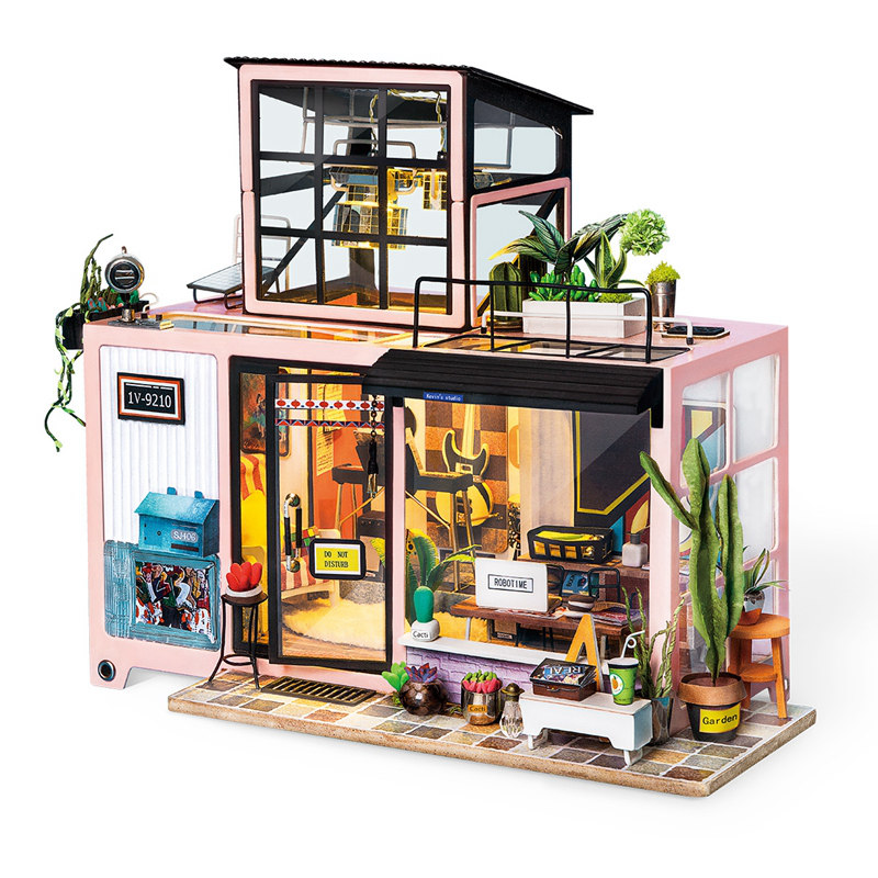 Robotime New DIY Kevin's Studio with Furniture Children Adult Miniature Wooden Doll House Model Building Kits Dollhouse Toy DG13