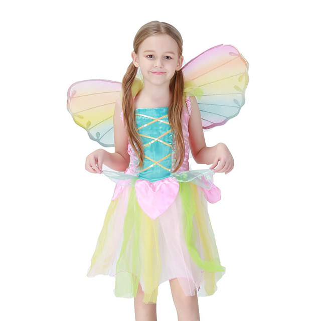 Halloween Girl Rainbow Fairy Butterfly Costume Child Kid Anime Tinker Bell Cosplay Color Book Week Fancy
