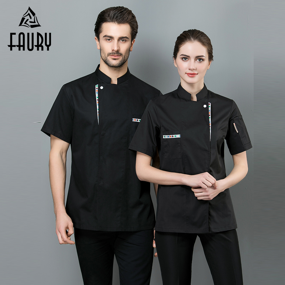 2019 High Quality Chef Clothes Cook Bakery Costumes Barbershop Cafe Kitchen Restaurant Uniforms Shirts Summer Breathable Tops