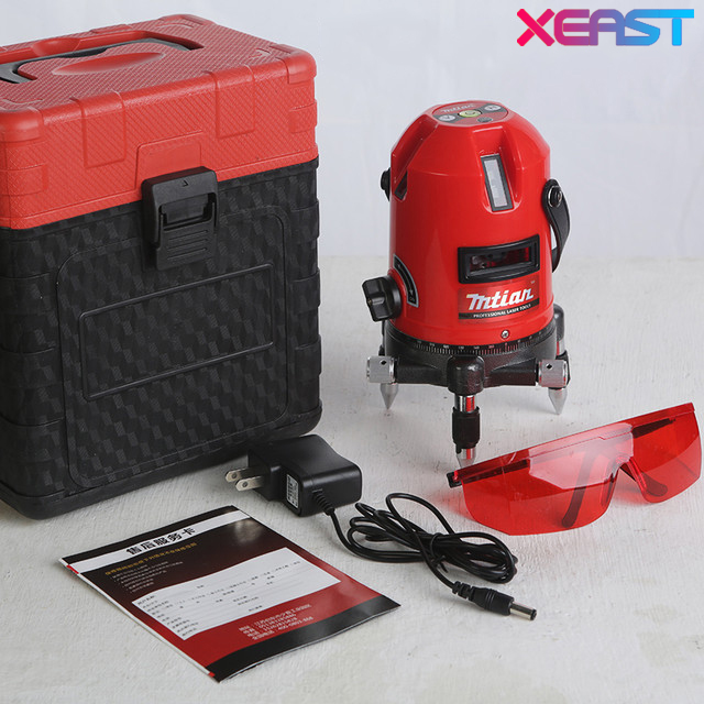 XEAST 5 Lines 6 Points Laser Level 360 Rotary Cross Lazer Line Leveling with tilt function