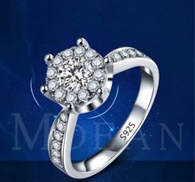 New Simple ring European retro platinum smooth side ring Crystal from Swarovskis For Women Fashion Jewelry Wedding Ring