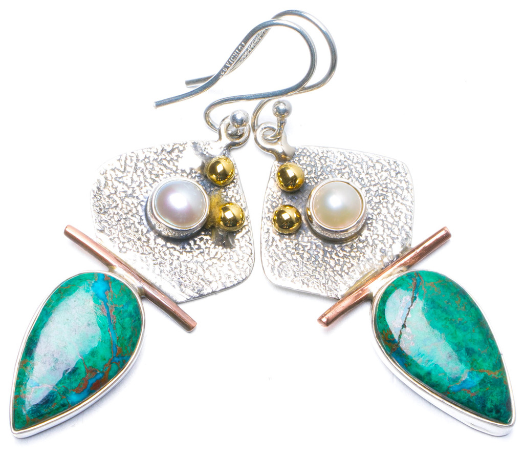 Natural Two Tones Chrysocolla and River Pearl Handmade Unique 925 Sterling Silver Earrings 2 Y0664 1056716