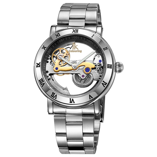 Ikcolouring Automatic Mechanical Watches Men Brand Luxury Rose Gold Case Stainless Steel Skeleton Transparent Men's watches brand new business watch men hollow engraving black gold case stainless steel watches skeleton mechanical automatic wristwatches