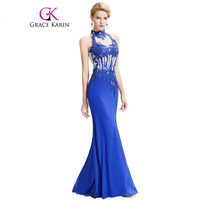 Mermaid Evening Dresses Grace Karin 2016 Backless Halter High Split Beading Formal Elegant Long Blue Evening