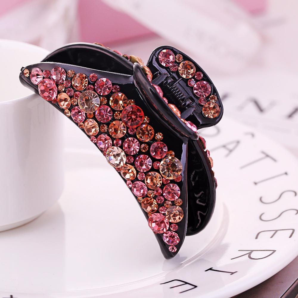 abd7100ef Butterfly Hair Clip crystal Rhinestone hair Claw hair pin Clamp high end hair  Accessories female giftsUSD 7.95/piece