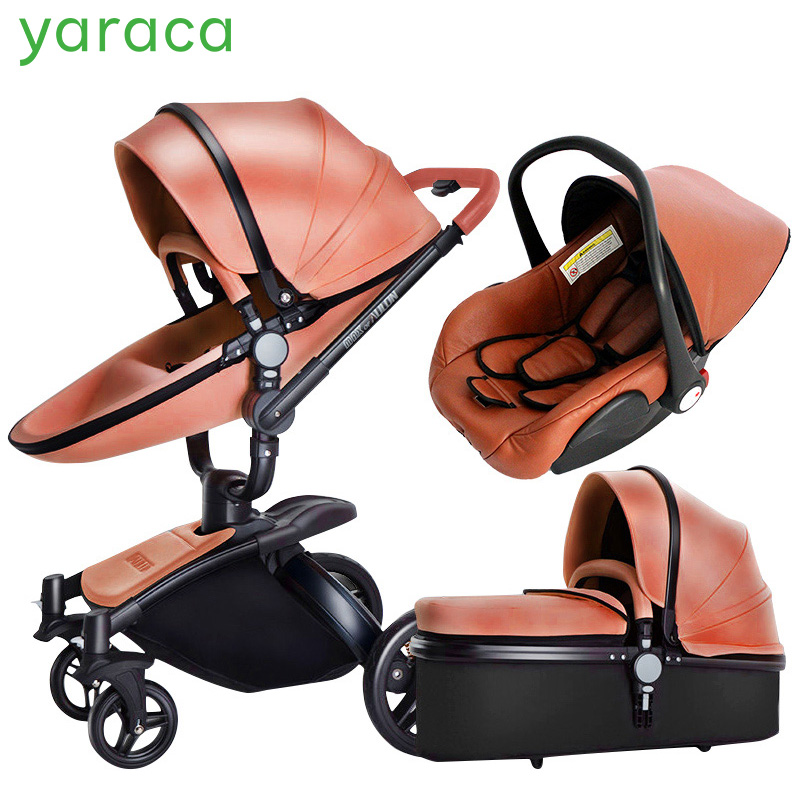 Baby Stroller 3 in 1 Car Seat High View Pram For Newborns Folding Baby Carriage 360 Degree Rotation Travel System Baby Trolley luxury baby stroller 3 in 1 carrycot seat 2 in 1 stroller with car seat baby carriage high landscape pram for newborns