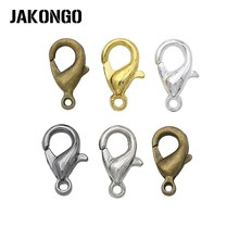 JAKONGO 10mm Silver Bronze Gold Plated Lobster Trigger Claw Clasps Connector DIY for Jewelry Findings Mixed Color 50pcs/lot