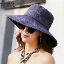 BINGYUANHAOXUAN 2018 New Fashion Summer Womens Hat Foldable Beach Sun Hats For Women Large Brim Straw Vocation