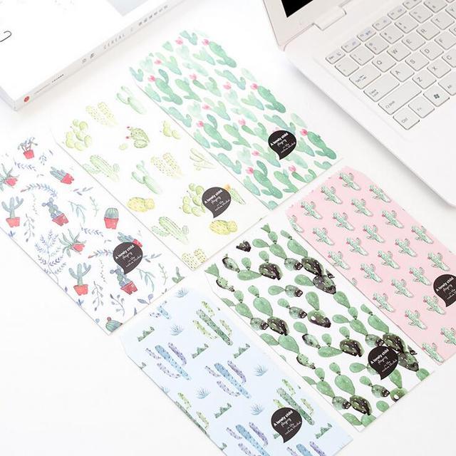 5 unids/pack Creativos Muchos Planta de Cactus Carta Sobre de Papel Tarjeta Mensaje Letter Estacionario Almacenamiento del Papel de Regalo