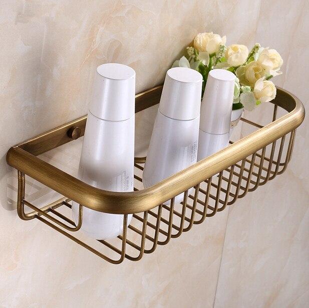 Bathroom antique brass shower basket bathroom shelf basket for square basket for bathroom holder