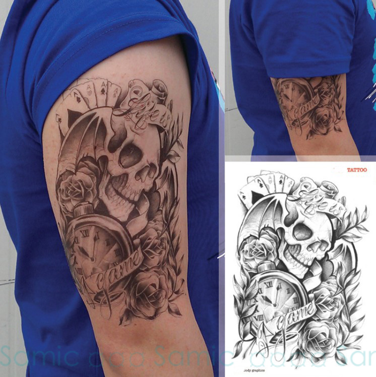 Grandes Pegatinas Tatuaje Temporal A Prueba De Agua Hombres Pierna
