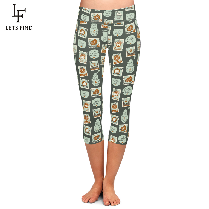 LETSFIND  Summer New Design Women Capri Leggings Stamps Printing Mid-Calf 3/4 Fitness Woman High Waist Casual Leggings