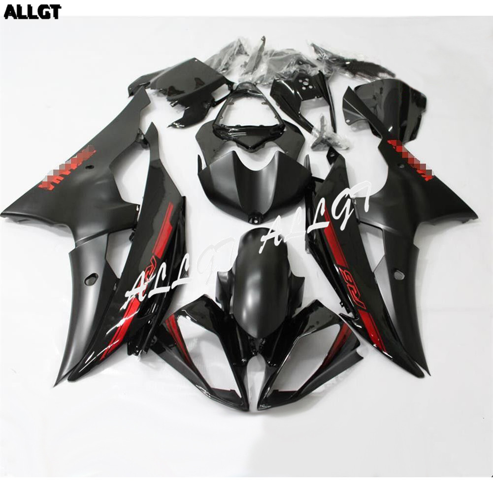 Red R6 Fairings Fit for 2008 2009 2010 2011 2012 2013 2014 2015 Yamaha YZF R6 Black ABS Injection Bodywork Set