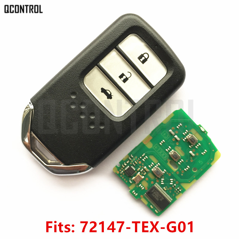 QCONTROL Car Remote Smart Key Fit for Honda 72147-TEX-G01 City Jazz XRV Venzel HRV CRV Accord Civic Element Control Alarm fuzik keyless go smart key keyless entry push remote button start car alarm for honda accord odyssey crv civic jazz vezel xrv