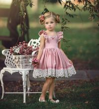 New style Kids Baby Girls pink Floral Dress ruffled Sleeve Summer Children Birthday Pageant Wedding Party vestido de dress