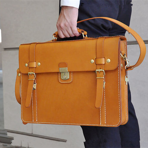 DIY Hand Sewn Leather Handmade Briefcase Drawing Paper Type Postman Wind BDQ-87 Computer Bag Edition