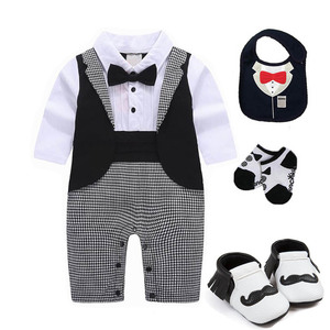 Image 2 - 1 set baby wedding birthday party Tuxedo twins cotton bodysuit outfits & set Christening suit photo props outfits