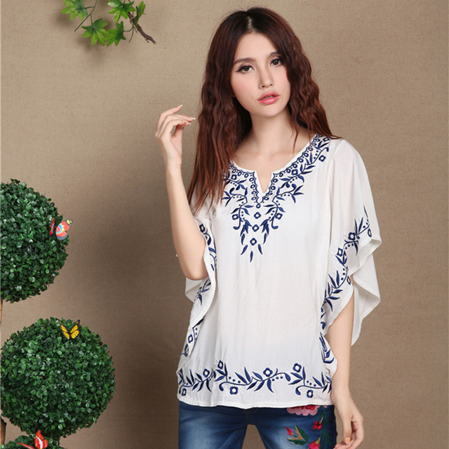 2a675082e48495 Hot Sale Summer New Cotton Embroidered Loose Plus Size Women's Short-sleeve  Shirt Casual Peasant Blouse Free Shipping