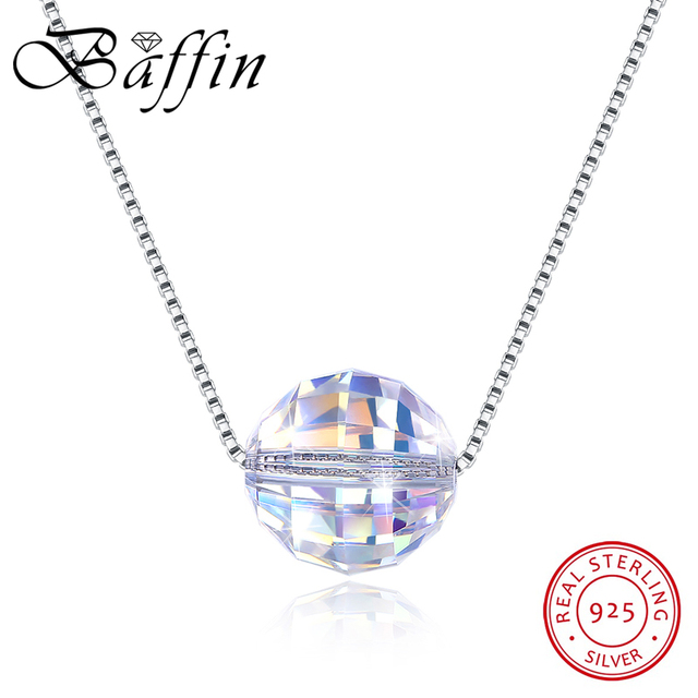 BAFFIN Crystals From SWAROVSKI Ball Pendant Necklaces 925 Sterling Silver Beads Necklaces For Women Simple Fashion Jewelry Gifts