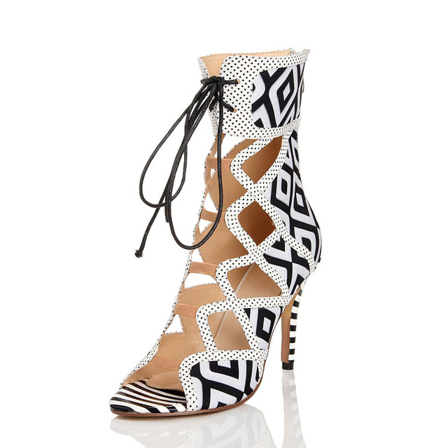 Lace Up Shoes For Women Gladiator Black White