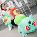 3 styles Anime big size Bulbasaur Charmander Squirtle plush soft stuffed doll toys for kds christmas gifts