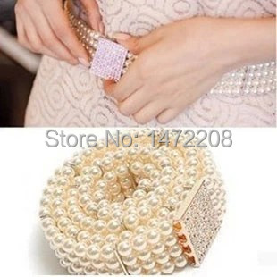 Free Shipping 2017 Women's All-Match Pearl Rhinestone Belly Chain Cummerbunds Lady's Decorate Elastic Waist Belts