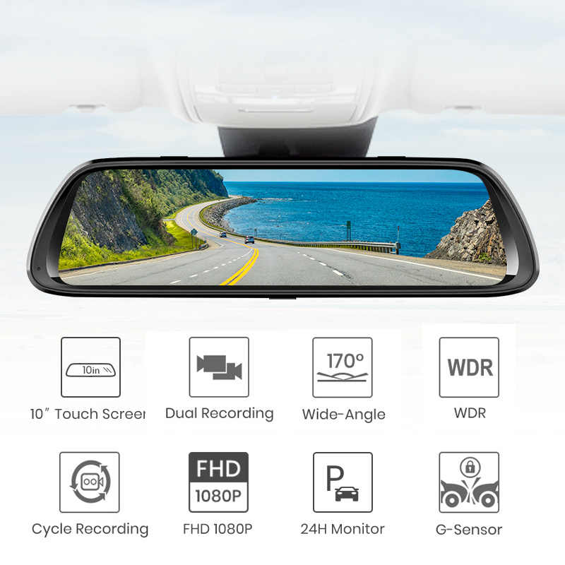 Автомобильный видеорегистратор Junsun с двойным объективом 1080P, IPS 9,66 дюйма, с сенсорным экраном, потоковое зеркало заднего вида, видеорегистратор с двойным объективом, ночное видение, парковочный монитор