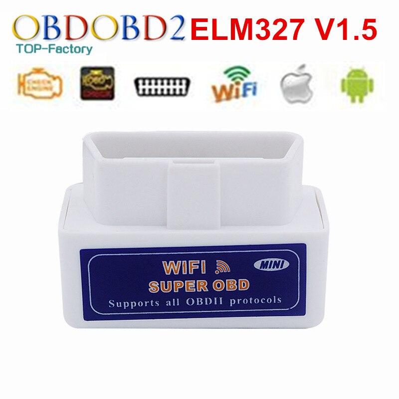 Prix pour Super MINI ELM327 WIFI V1.5 OBD2 Scanner Soutien Tous Les Protocoles OBDII Travail Pour IOS/Android/PC Sans Fil Connecter ELM327 WIFI V1.5