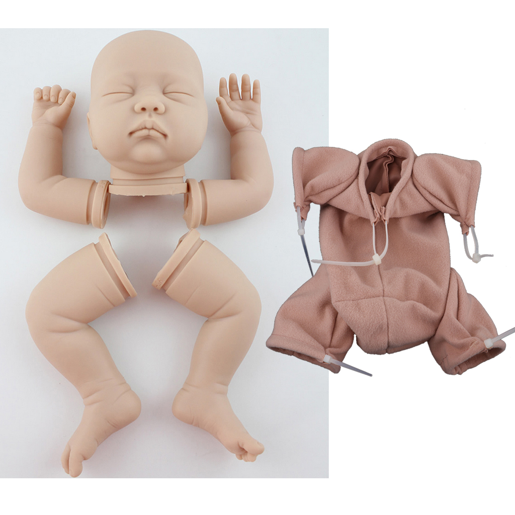 Handmade DIY 22inch Reborn Kits Soft Silicone Blank Baby Doll Mold Suede Cloth Body Set Hands-On Toy