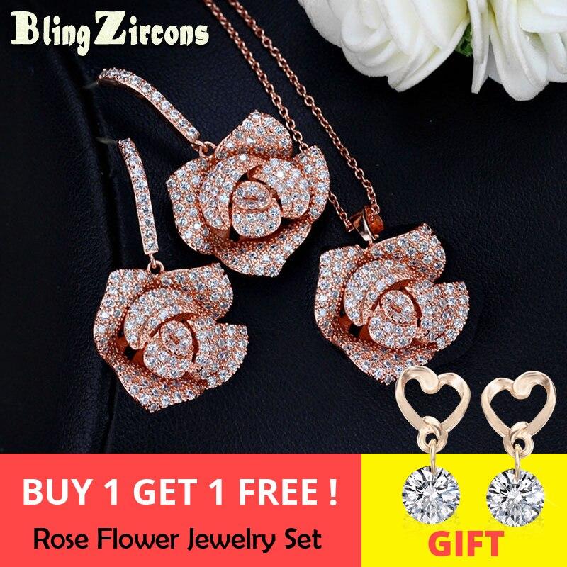 BlingZircons Romantic Rose de aur de culoare Big Flower Drop cercei - Bijuterii de moda